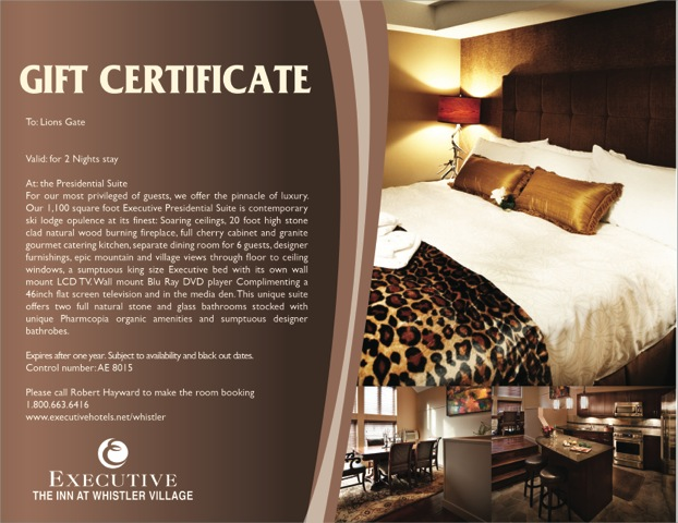 Whistler gift card executive hotels resorts for Hotel voucher design