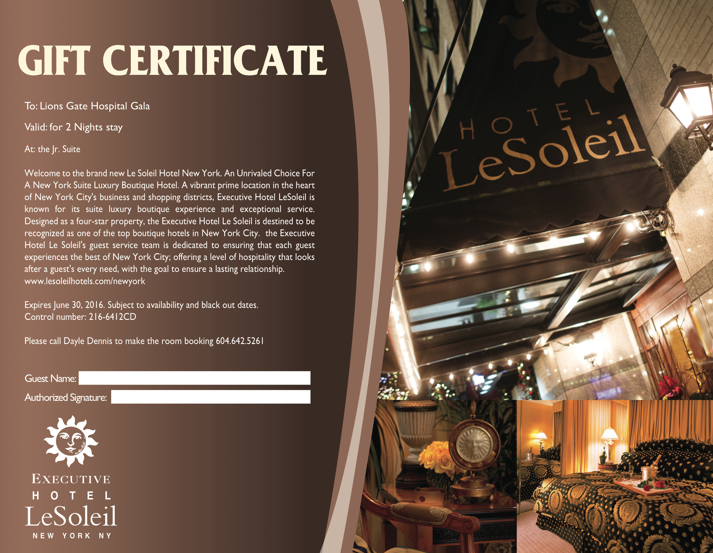 Executive Hotel Le Soleil New York Gift Certificate Executive